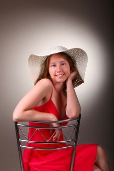 Free Lady In Red With Summer Hat Royalty Free Stock Photo - 19982215