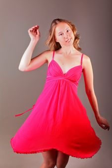 Free Dancing Lady In Red Dress Royalty Free Stock Photo - 19982265