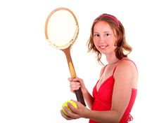 Free Tennis Player In Red Dress Royalty Free Stock Photo - 19982275