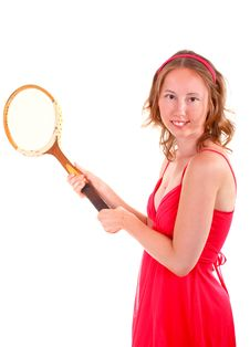 Free Tennis Player In Red Dress Royalty Free Stock Photo - 19982295