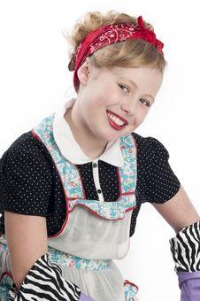 Free Little Girl Wearing Retro Apron Stock Photos - 19982683