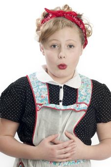 Free Little Girl Wearing Retro Apron Stock Photos - 19982703