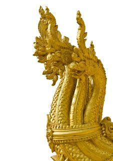Heads Of Golden Naga In Isolation Royalty Free Stock Photo