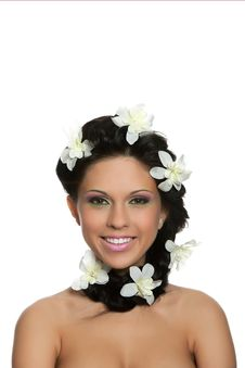 Beautyful Woman With Flower Royalty Free Stock Photos