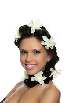 Beautyful Woman With Flower Stock Photos