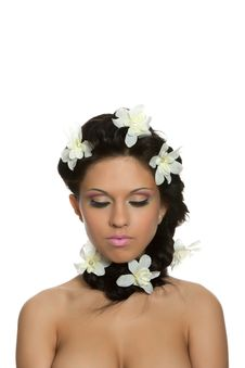 Beautyful Woman With Flower Stock Photography