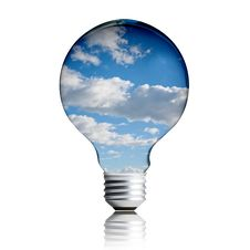 Light Bulb With Sky Inside The Bulb Royalty Free Stock Photography