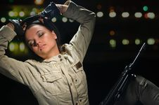 Free Army Girl In Night Lights Stock Photo - 19984850