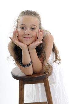 Free Funny  Girl Posing Near Chair Stock Images - 19984994