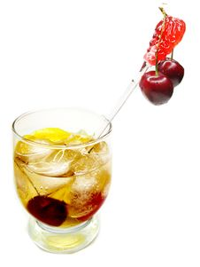 Free Alcohol Brandy Cocktail With Cherry Stock Photography - 19985382