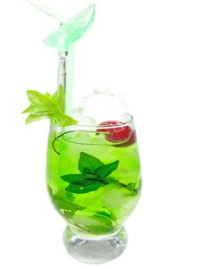 Free Alcohol Green Curacao Liqueur Cocktail With Cherry Stock Photos - 19985713