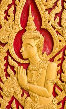 Free Thai Art Church Door Royalty Free Stock Photography - 19986107