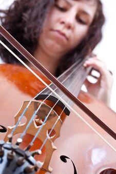 Girl Playing Cello Stock Photo