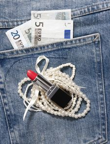 Free Jeans Pocket Money Stock Photos - 19987253