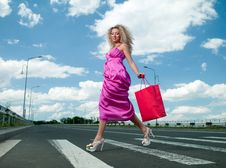Free Woman In A Pink Dress Royalty Free Stock Photos - 19988198