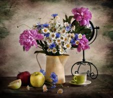 Bouquet With Pi-mesons, Corn-flowers And Camomiles Stock Image