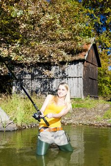 Free Fishing Woman Stock Image - 19989981