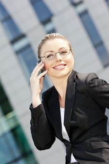 Telephoning Businesswoman Stock Photography