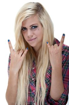 Free Sexy Young Blonde Female Rock Sign Royalty Free Stock Photo - 19990625