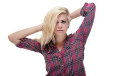 Free Sexy Young Blonde Female Against White Royalty Free Stock Photo - 19990665