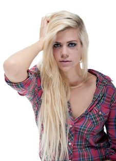 Free Sexy Young Blonde Female Against White Stock Image - 19990721