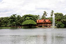 Thai House And River Royalty Free Stock Photo