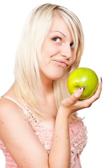 Free Beautiful Blonde Girl With Fresh Green Apple Stock Photos - 19991363