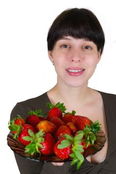 Free Young Woman With A Strawberry Stock Photography - 19992282