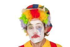 Portrait Of Colorful Clown Royalty Free Stock Photography