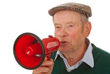 Free Male Senior With Megaphone Royalty Free Stock Photography - 19993697