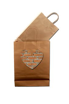 Free Brown Paper Bag With Brick-pattern Heart Stock Photos - 19994543