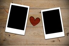 Free 2 Instant Photos With Red Heart Royalty Free Stock Photos - 19994758