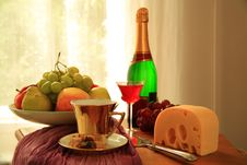 Free Fruits,wine,coffee And Cheese. Royalty Free Stock Photo - 19994765