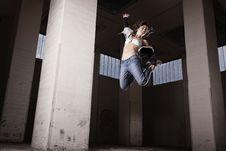 Female Dancer Jumping. Stock Photos