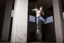 Female Dancer Jumping. Royalty Free Stock Image