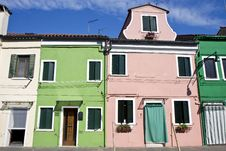 Free Houses In Burano Island Stock Image - 19995401