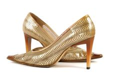 Woman Golden Shoe Stock Images