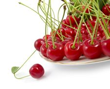 Free Cherry With A Branch On A Dish Royalty Free Stock Photos - 19996188