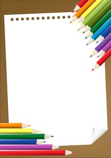 Free Color Pencils With Blank Paper Royalty Free Stock Photography - 19998847