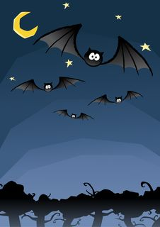 Free Halloween Cartoon Bats Royalty Free Stock Photo - 19998875