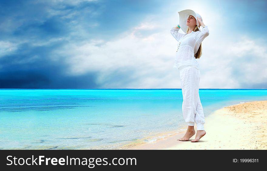 Women on the sunny tropical beach