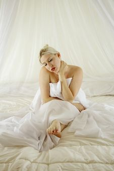 Sexy Blond In The Bed Stock Image