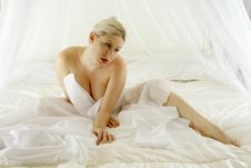 Blond In The Bed Stock Photography