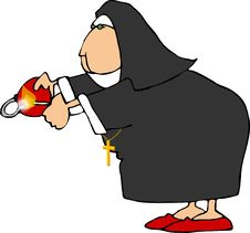 Free Nun With A Bomb Stock Photography - 205642