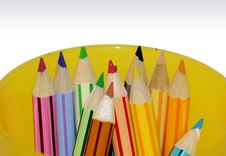 Free Color Pencils In Yellow Container Stock Image - 205651