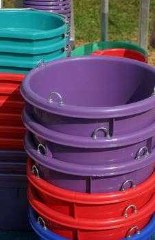 Free Colorful Buckets Royalty Free Stock Photography - 207577