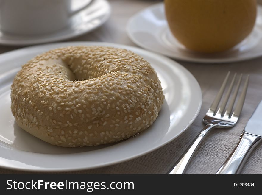 Bagel with breakfast