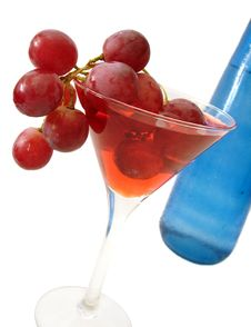 Free Red Wine With Grapes And Blue Bottle Over White Background Stock Photos - 2002433