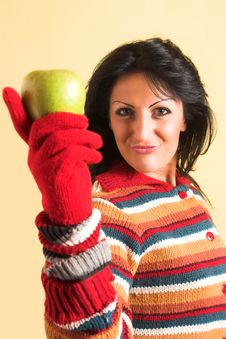 Free Woman With A Green Apple Royalty Free Stock Images - 2002799