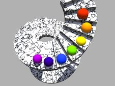 Free Stair With Coloured Spheres Royalty Free Stock Images - 2002809